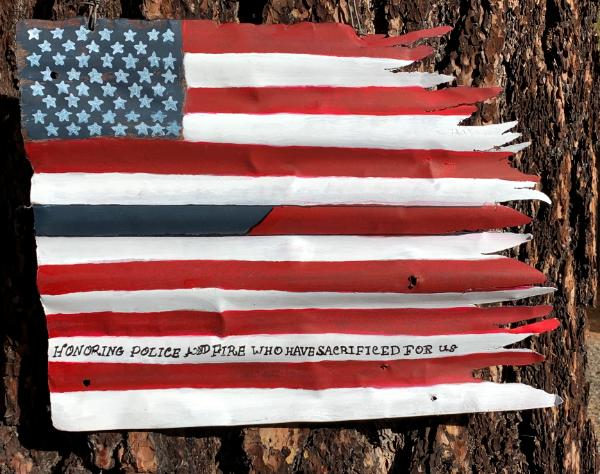 Blue/Red Line Distressed Flag