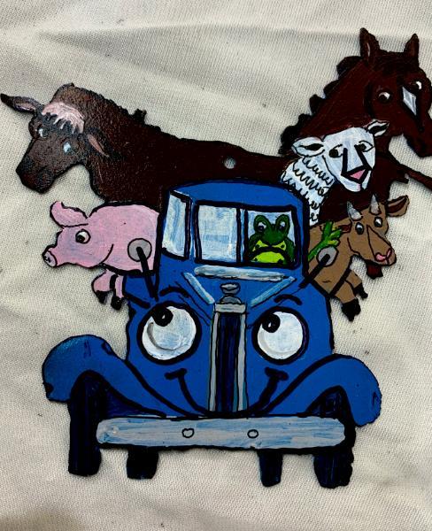Blue Truck & Animals ornament