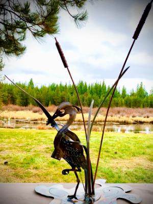 Cattails and Heron